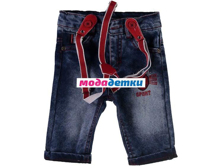 джинсы на подтяжках 6-9-12-18 мес (флис)